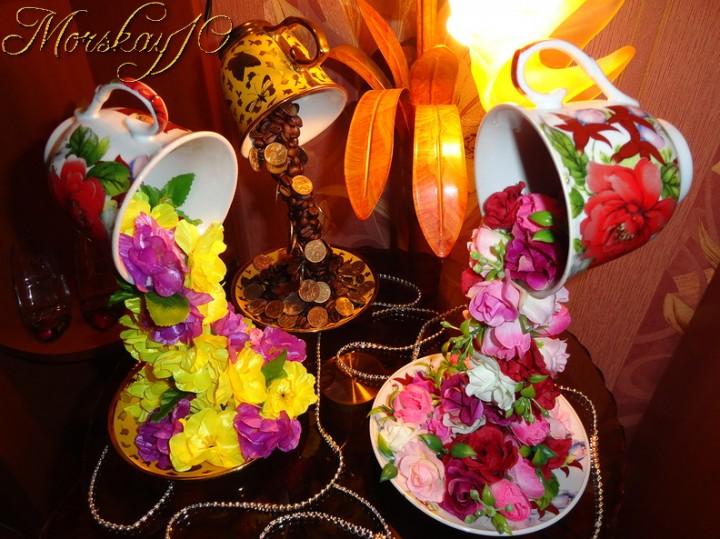 Поделка на кружках цветы
