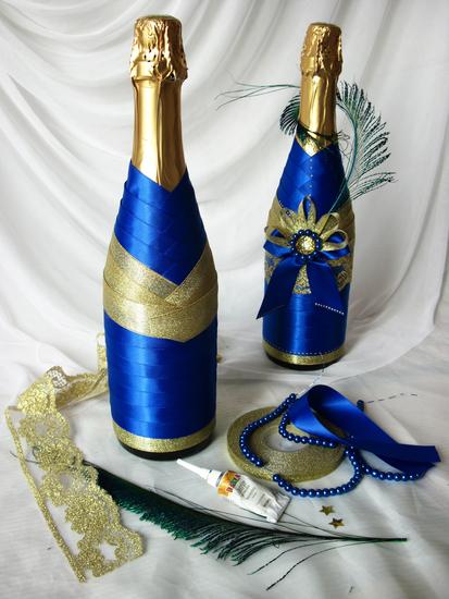 Бутылка шампанского лентами своими руками мастер класс