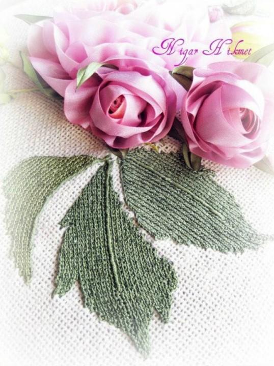 Цветы вышивка лентами нигяр хикмет
