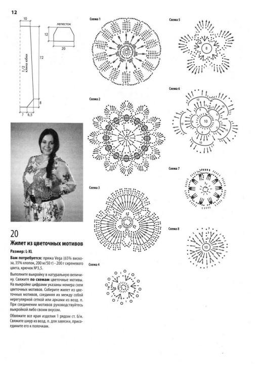Вязание из цветочных мотивов крючком схемы 30