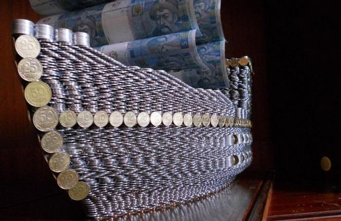 фото как сделать денежный корабль пальто