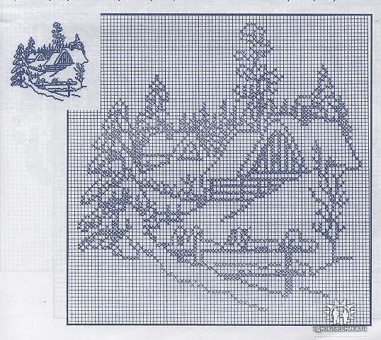 Вышивка крестом монохром пейзаж схема