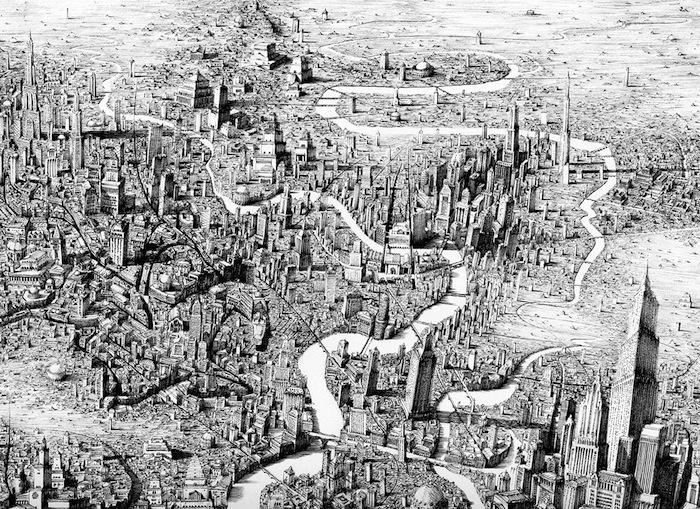 Архитектурные карты вымышленного времени Бена Сэка (Ben Sack)