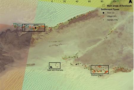 Расположение гарамантских поселений в районе Феццан