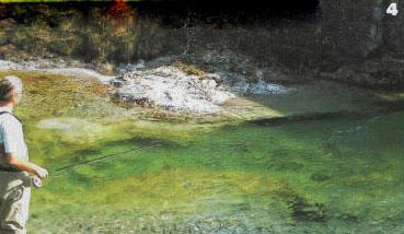 «Лишние» петли ненатянутого шнура компенсируют давление на него течения реки.